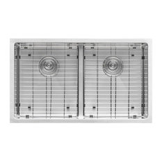 "Low-Divide 30"" Undermount 16 Gauge Double Bowl Kitchen Sink"