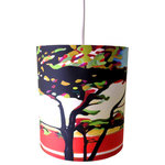 """Rowan Chase - Cypress Cove, 8"""" X 9"""", with Diffuser - Bring color to your interior with the handmade drum pendants by Californian artist Rowan Chase. These lamps are constructed on white powder coated lampshade rings with Rowan Chase artwork. 100% Cotton Velvet Watercolor paper, a white 10 foot cord with porcelain fixture and white ceiling canopy. Lamps come assembled and ready for installation  Handmade in California one shade at a time by Rowan Chase himself in his studio. Available in four sizes from 8"""" to an amazing 24"""" centerpiece which completely transforms your dining, bed or living room! All shades are 9"""" tall."""