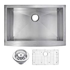 """33"""" X 22"""" Zero Radius Single Bowl Stainless Steel Apron Front Kitchen Sink"""