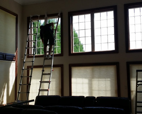 Window Treatment Ideas For Energy Efficiency -  Cellular Shades On Large Windows - Cellular Shades