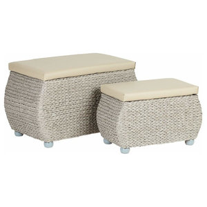 Storage Trunks, Wicker With Wooden Legs and Faux Leather Cushions, 2-Piece Set