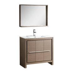 "Fresca Allier 36"" Gray Oak Modern Bathroom Vanity, Mirror"