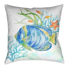 Laural Home Sea Life Angelfish Indoor Decorative Pillow