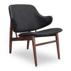 Delicieux Kardiel   Larsen Shell Wood Modern Italian Leather Lounge Chair, Walnut  Base, Black