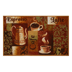 Living Classics Espresso, Latte, Cafe, Coffee Kitchen Rug Non Skid Back