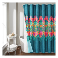 Boho Chic Shower Curtain Navy with Peva Lining and Rings 14Pc Set 72X72