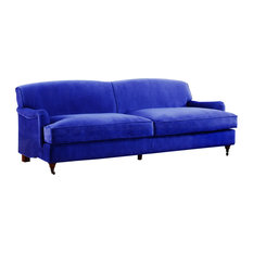 Divano Roma Furniture - Mid Century Modern Sophisticated Large Brush  Microfiber Sofa With Casters, Blue