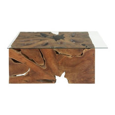 Uma Enterprises   Modern Reflections Teak Glass Coffee Table, Multi Color   Coffee  Tables