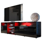 "Meble Furniture & Rugs - TV Stand Roma Matte Body High Gloss Doors Modern TV Stand LED, Black - TV Stand Roma - Modern TV Cabinets & TV Consoles / Central Entertainment Center perfect fit for even up to 90"" TV screens / Central High Capacity TV console"