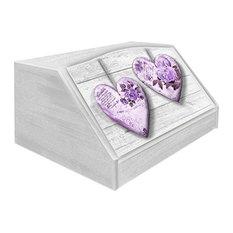 Rose Heart Violet Wooden Bread Bin