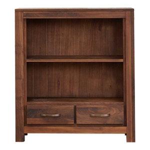 2 Drawer Mayan Solid Low Walnut Bookcase
