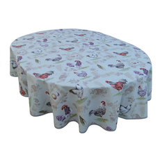 Heather Printed Cotton Tablecloth, Linen, Oval, 160x300 cm