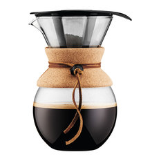 Bodum USA, Inc. - Bodum Pour Over Coffee Maker With Permanent Filter and Cork Band, 17 oz., 34 Oz. - Coffee Makers