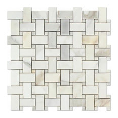 Calacatta 1X2 Marble Basketweave Mosaic With Dots, Honed, From Italy, 10 sq.ft.