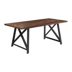 "71"" Modern Table With Brown Finish Wood Tabletop & Metal Legs Six 6 seating, Dar"