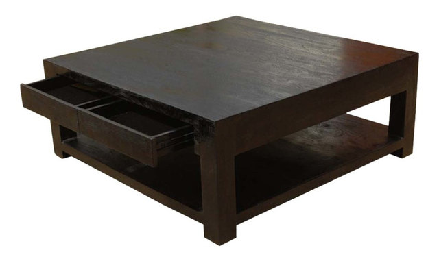 contemporary solid wood square espresso coffee table - transitional