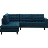 Empress 2-Piece Upholstered Fabric Left Facing Bumper Sectional, Azure