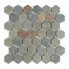 "12""x12"" Ridge Natural Stone Mosaic Tiles, Slate, Hexagon"
