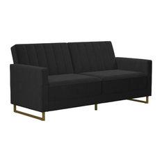 Novogratz Skylar Modern Coil Futon/Sofa Bed, Black