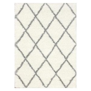 "Geometric Moroccan Diamond Shag Rug, Gray, 7'10""x10'"