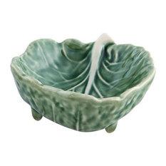 Bordallo Pinheiro Cabbage Leaf Ceramic Ramekins, Set of 10
