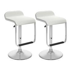 Adjustable Bar Stool With Footrest White Leatherette Set Of 2