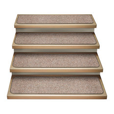 "Attachable Carpet Stair Treads, Pebble Beige, Set of 15, 9""x36"""
