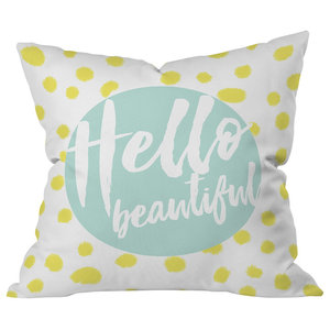 Coco and Cream Polka Dot Burst Pattern 16 x 16 Indoor Outdoor Throw Pillow