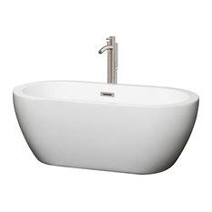 "Soho 60"" Freestanding White Bathtub, Brushed Nickel Tub Filler & Trim Kit"