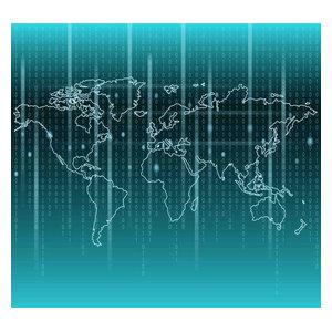 Binary Code World Map Non-Woven Wallpaper Mural