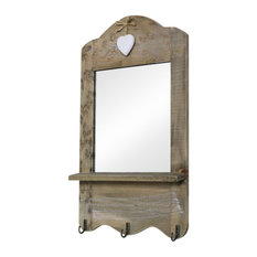 Melody Maison - Small Rustic Wooden Mirror With Hooks - Bathroom Mirrors