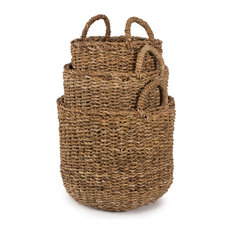 """Seagrass Nested Round Apple Baskets, Set of 3, Large, 16.5"""" 13.5"""""""
