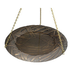 "15"" Diameter, 24"" Chain Dragonfly Hanging Birdbath, Oil Rub Bronze"