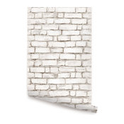 "Brick Wallpaper, Peel and Stick, White, 24""x108"""