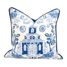 """Toile Linen Pillow Cover, Blue/White With Contrast Blue Cording, 20""""x20"""""""