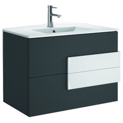 Trend Modern Bathroom Vanities And Sink Consoles Concetto Bathroom Vanity Matte Gray and White Handles