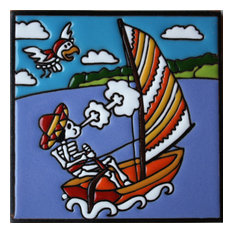 "6""x6"" Sailing Day of the Dead Clay Tile"