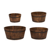 Round Shallow Cedar Barrel, Set of 4, Burnt Brown