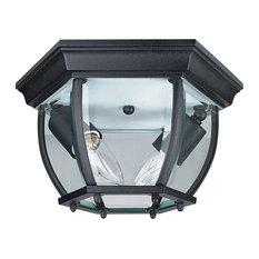 "Sunset Lighting F7898 2 Light Outdoor Cast Aluminum 11""W Flush - Black"
