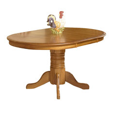 Intercon   Intercon Furniture Classic Oak Pedestal Dining Table, Chestnut    Dining Tables