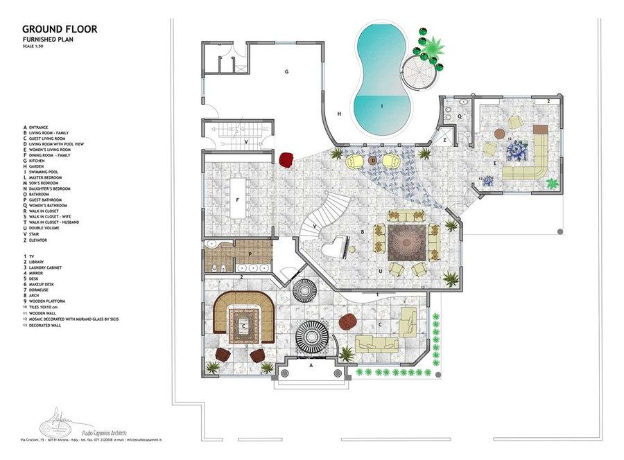 Villa a Riyad. Architettura di interni