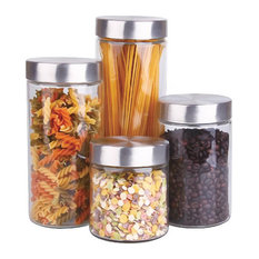 Glass Canister Set With Stainless Steel Lids Set Of 4 Kitchen Canisters And Jars