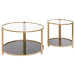 Statements by J - Sydney Coffee Table Set - 2 tiers round coffee table and matching end table brings the glam and practicality yo your space. They can be used together as a coffee table set in front of your sofa.