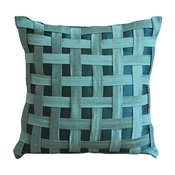 "Peacock Green N Teal Basket Weave, 22""x22"" Art Silk Teal Blue Pillows Cover"