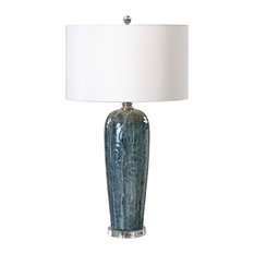 Embossed Blue Scroll Table Lamp, Ivory White Shade Ornate Romantic Gloss