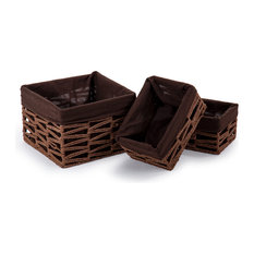 """Square Geo Weave Basket with Liner, 3 Piece Set, Brown, 9.25x9.25"""""""