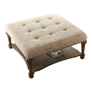 Pleasant Tufted Square Cocktail Ottoman Brown Transitional Gamerscity Chair Design For Home Gamerscityorg