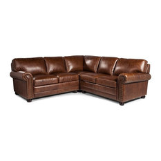Lazzaro Leather Inc   Lazzaro Leather Hardwick Leather Sectional, Brown    Sectional Sofas