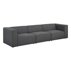 Somerton 3-Piece Upholstered Fabric Sectional Sofa Set Gray
