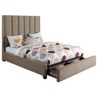 Beechnut Full Upholstery Bed With Storage Drawers, Brown, Eastern King